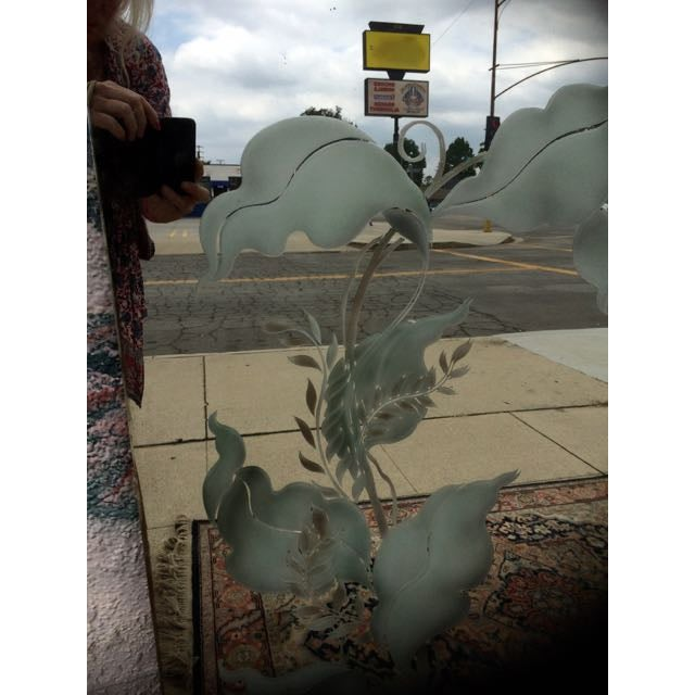 Antique Art Deco Etched Wall Mirror - Image 4 of 11
