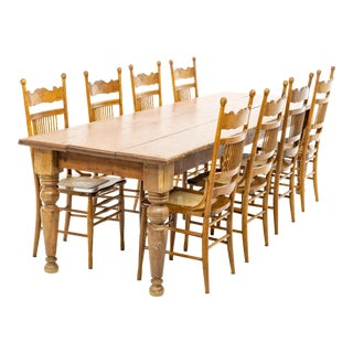 Late 19th Century Old Growth Pine Harvest Table With Chairs - 9 Pieces For Sale