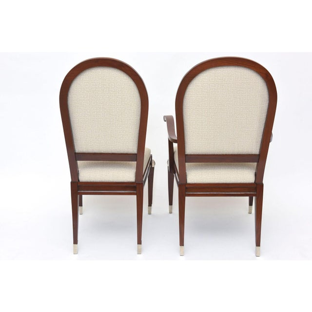 1940s Set of Eight Jean Pascaud Mahogany and Silvered Bronze-Mounted Dining Chairs For Sale - Image 5 of 11