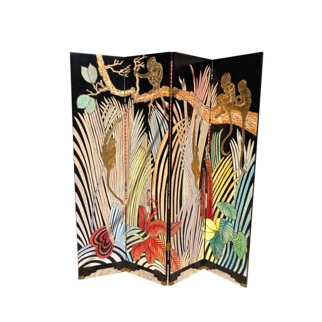 1980s Art Deco Hand Painted and Carved 4-Panel Room Divider For Sale In Dallas - Image 6 of 6