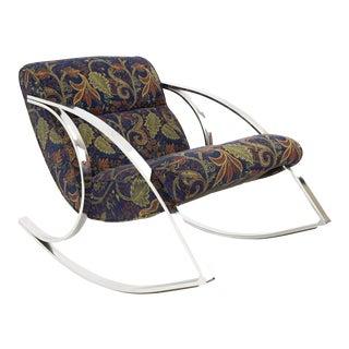 Mid Century Modern Milo Baughman Style Chrome Rocking Chair For Sale