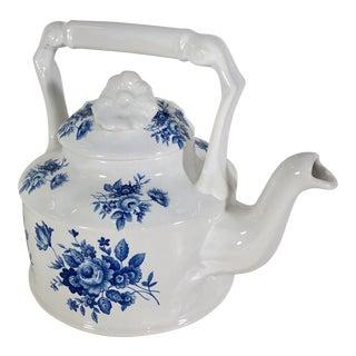 Arthur Wood China Embossed Blue Cabbage Rose Floral Tea Pot For Sale