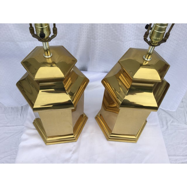 Vintage Modern Brass Table Lamps For Sale In New York - Image 6 of 11