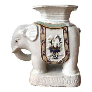 Hollywood Regency Ceramic Elephant Garden Stool