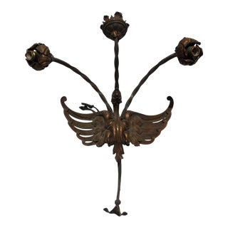 Antique Iron Forged Bird Three Light Sconce For Sale