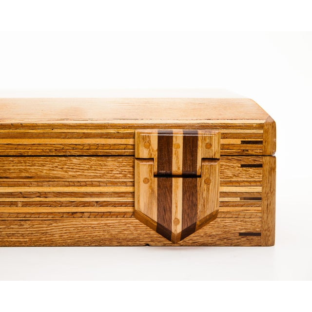 Green Scandinavian Lawrence & Scott Reclaimed Wood One-Of-A-Kind Lined Jewelry Box For Sale - Image 8 of 12