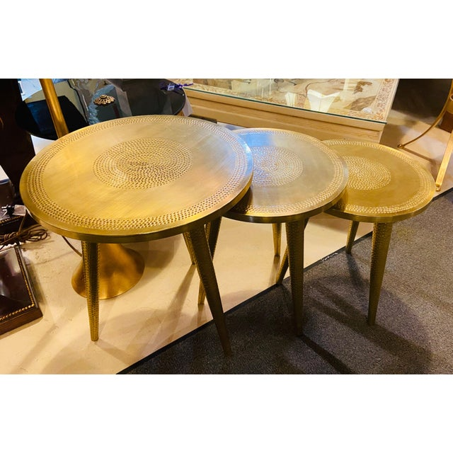 Mid-Century Modern Mid-Century Modern Style Brass Nest of Tables or End Tables, Nest of Three For Sale - Image 3 of 12