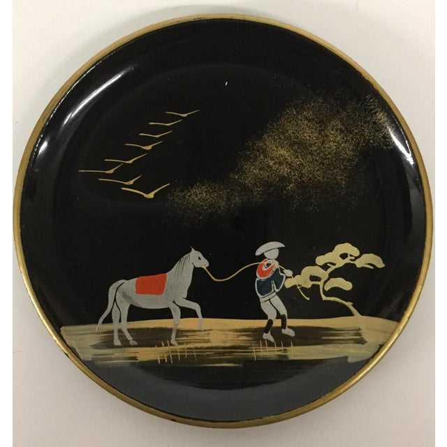 Vintage Mid-Century Modern Lacquer Coaster Set - Set of 5 For Sale In Boston - Image 6 of 11