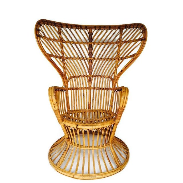 Franco Albini Style Vintage Bamboo Peacock Chair - Image 6 of 6
