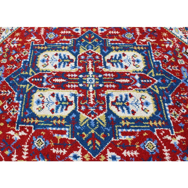 Mid-Century Modern Hand-Knotted Area Rug Carpet Swedish Style Blue Red For Sale - Image 4 of 6