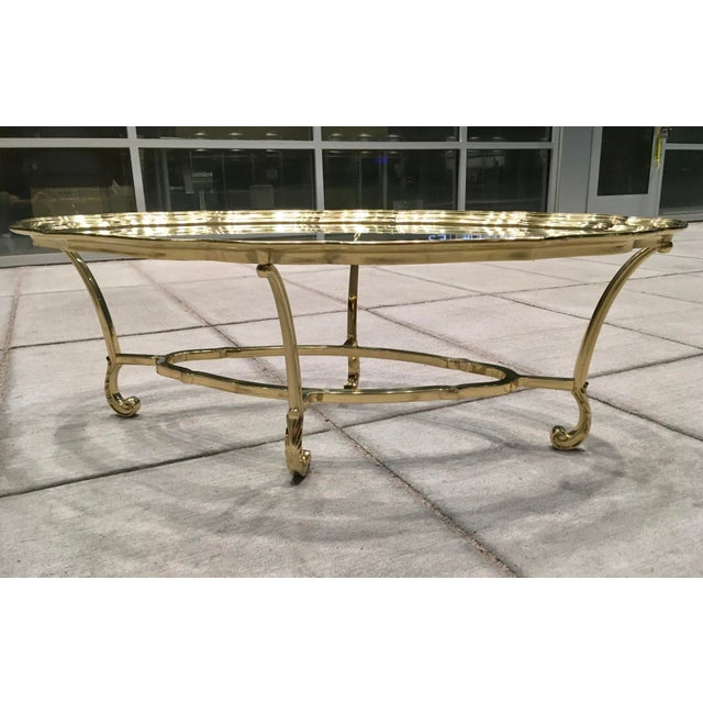Mid 20th Century Scalloped Edge Brass and Glass Mid-Century Modern Coffee Table by Labarge For Sale - Image 5 of 13