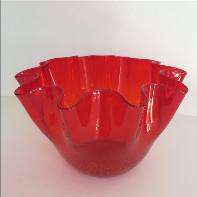 Vintage Red Blenko Crackle Glass Vase - Image 2 of 11