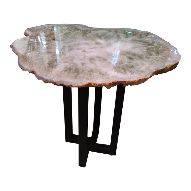 Polished Chalcedony Adventurine Slab Table For Sale