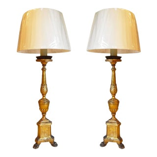 19th Century Italian Giltwood Candlesticks Lamps - A Pair For Sale