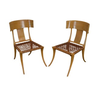 T. H. Robsjohn Gibbings Saridis of Athens Walnut & Leather Pair Klismos Chairs For Sale