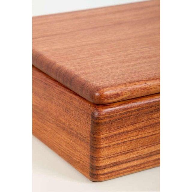 Brown Rectangular Teak Jewelry Box For Sale - Image 8 of 9