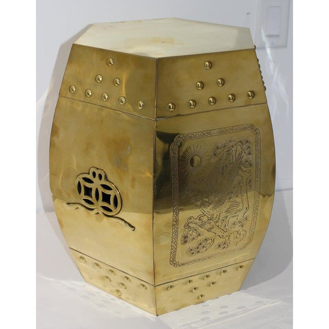 Mid-Century Chinese Brass Garden Seat Stool For Sale - Image 4 of 13