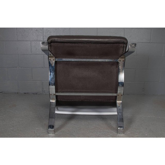 Leather and Steel Lounge Chair in the Style of Arne Norell For Sale - Image 9 of 10