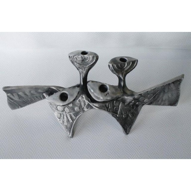 Brutalist Donald Drumm Brutalist Cast Aluminum Candle Holder For Sale - Image 3 of 12