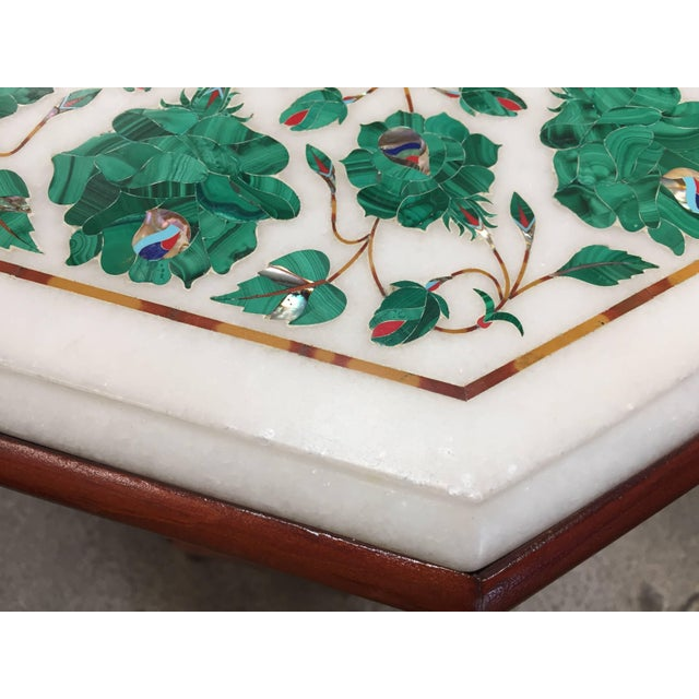 Pietra Dura Marble-Topped Octagonal Table Inlaid in Taj Mahal Anglo Raj Style For Sale - Image 4 of 13