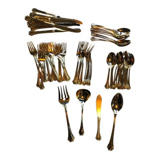 Vintage Fb Rogers Gold Plated Cutlery Set - Set of 74 For Sale