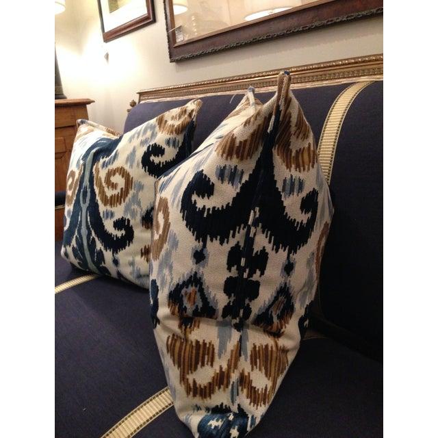 Cut Velvet Blue & Gold Pillows - a Pair - Image 4 of 4