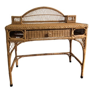 Boho Chic Rattan Writing Desk For Sale