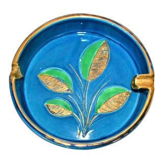 Mid-Century Modern Italian Blue Floral Ceramic Ashtray For Sale