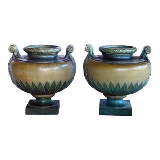 """French Glazed Earthenware Urns Signed """"Emile Muller, Paris"""" - a Pair For Sale"""