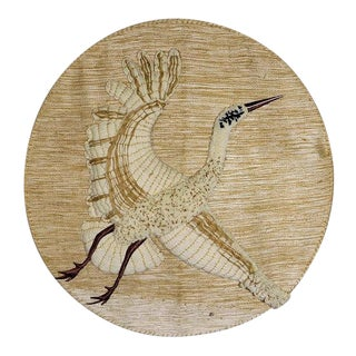 1980's Impressionism Don Freedman Hand Woven Crane Jute Wall Art For Sale