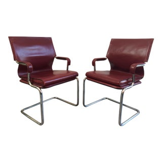 """Marcatre Red Leather & Chrome """"Uno"""" Chairs For Sale"""