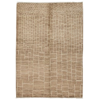 "Moroccan Hand Knotted Area Rug - 6'6"" X 9'0"" For Sale"