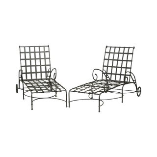 Brown Jordan Florentine Pair Aluminum Patio Chaise Lounges For Sale
