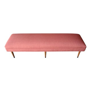 Mid Century Long Newly Upholstered Comfy Bench
