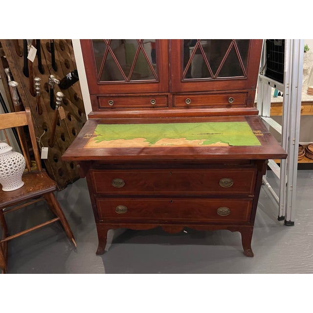 Early 19th Century 19th Century Federal Mahogany Two Part Secretary Desk For Sale - Image 5 of 10