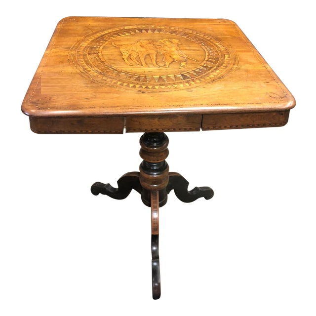 Antique 18c English Marquetry Table W Inlaid Dogs For Sale
