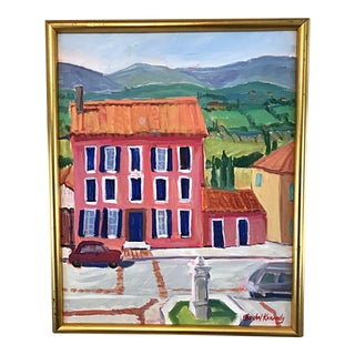 Vintage French Chateau and Landscape Painting on Canvas Signed and Framed by Rachel Kennedy For Sale