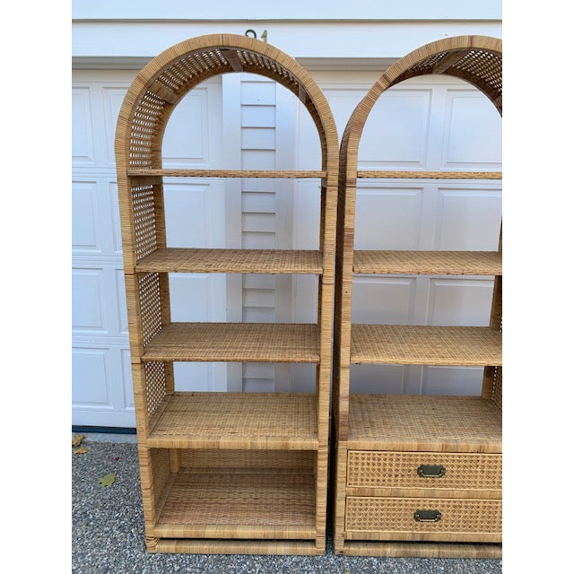 1970's Bielecky Style Rattan and Brass Bookshelves-Set of 3 For Sale - Image 4 of 13
