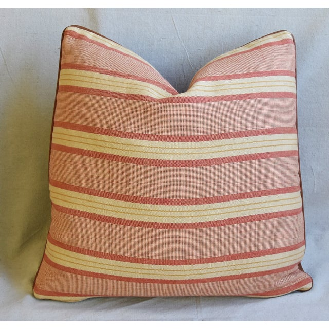 "Early 21st Century Rogers & Goffigon & Leather Feather/Down Pillows 20"" Square - Pair For Sale - Image 5 of 13"