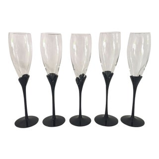 Vintage Mikasa Alexandra Black Pedal Champagne Glasses - Set of 5