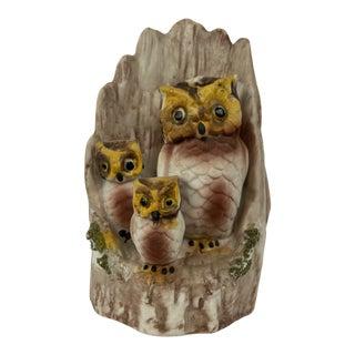Vintage Boho Chic Owls Ceramic Figurine For Sale