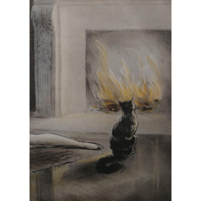 E. Naudy 1920s Art Nouveau Woman W/Cat by Fireplace Lithograph For Sale - Image 4 of 10
