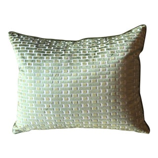 Modern Green Velvet Cutwork Brick Pillow For Sale
