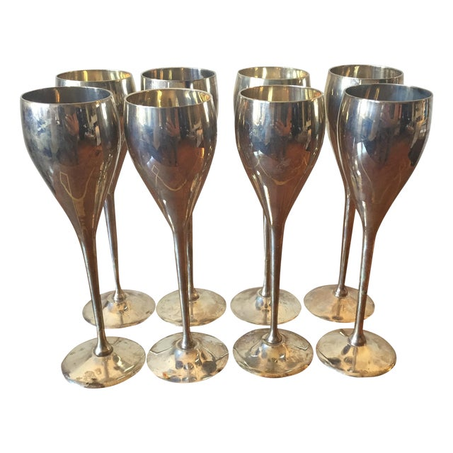 Silver Plated Goblets Flutes Glasses - 8 For Sale