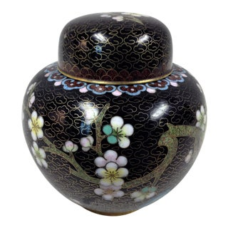 Asian Black Floral Cloisonne Ginger Jar For Sale