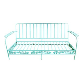 1950s Mid Century Woodard Style Bright Blue Outdoor Sofa For Sale