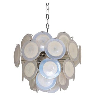 One of Two White Iridescent Murano Glass Disc Chandelier Attributed to Vistosi For Sale