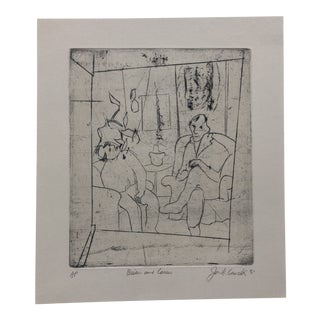 """""""Brian and Carew"""" Modern Abstract Etching by Jon Fasenelli-Cawelti, 1981 For Sale"""