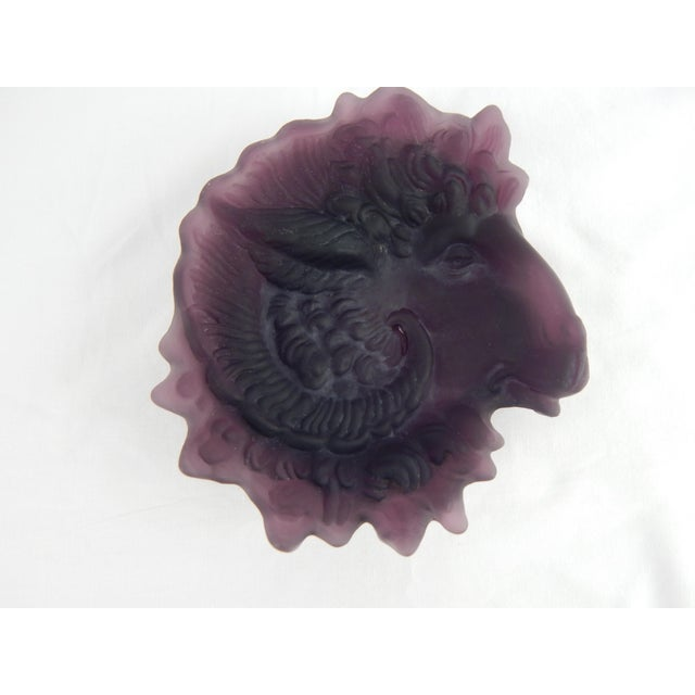 Rare amethyst Tiffin glass ram's head dish with a matte texture finish. No maker's mark.