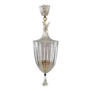 Large Art Deco Murano Glass Lantern Attributed to Barovier and Toso For Sale